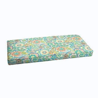 Blue Rio Floral Indoor/ Outdoor Corded Bench Cushion