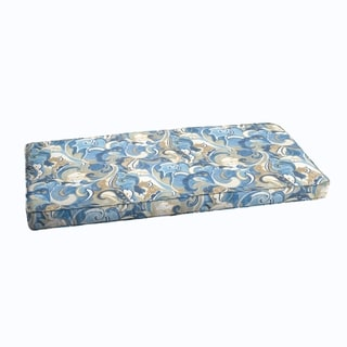 Blue Grey Abstract Indoor/ Outdoor Corded Bench Cushion