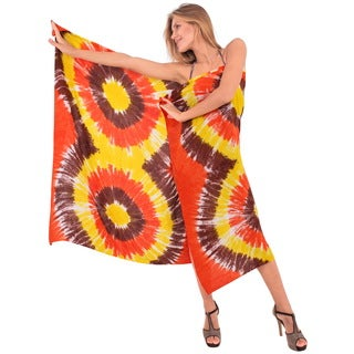 La Leela Women's Bikini Coverup Beach Wrap Swimsuit Smooth Rayon Tie Dye Sarong Orange 3X