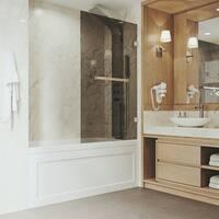 VIGO Rialto Black Bathtub Door