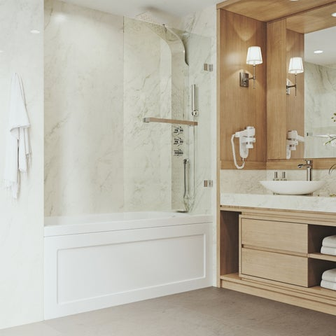 VIGO Rialto 34-in. Bathtub Door with .3125-in. Clear Glass and Stainless Steel Hardware