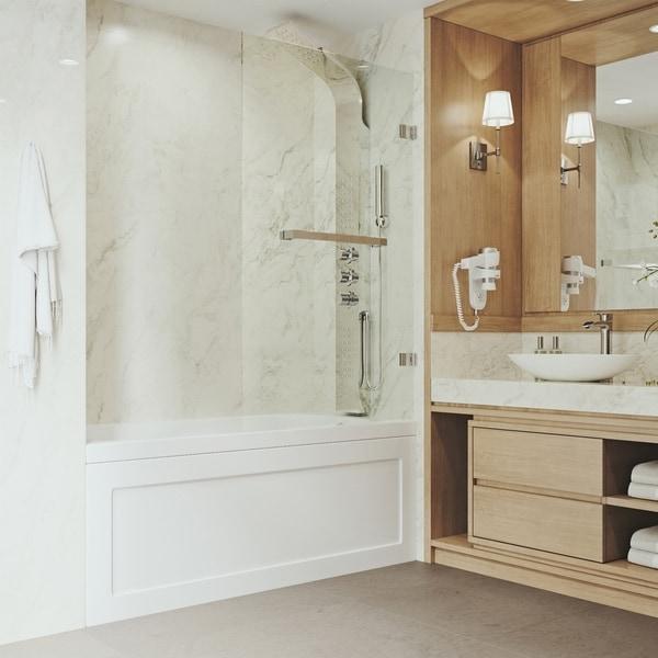 VIGO Rialto Clear Bathtub Door