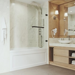 VIGO Rialto 34-in. Bathtub Door with .3125-in. Clear Glass and Antique Rubbed Bronze Hardware