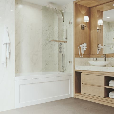 VIGO Rialto Clear Bathtub Door