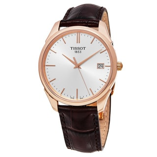 Tissot Men's T920.410.76.031.00 'Vintage T Gold' Silver Dial Brown Leather Strap Swiss Automatic Wat