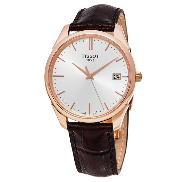 Shop Tissot Men's 'Vintage T Gold' Silver Dial Brown ...