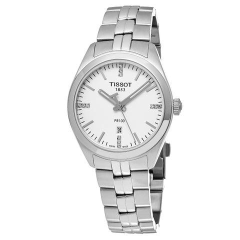 Tissot Women's 'PR 100' Silver Diamond Dial Stainless Steel Swiss Quartz Watch