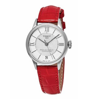 Tissot Women's T099.207.16.118.00 'T-Classic' MOP Dial Red Leather Strap Chemin Des Tourelles Swiss Automatic Watch