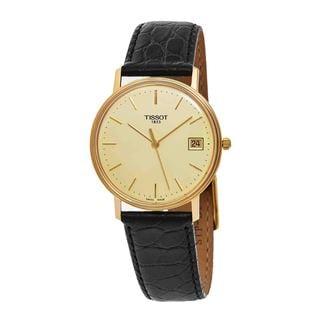 tissot watches overstock com the best prices on designer mens tissot men s t71 3 401 21 gold run goldtone dial black leather strap