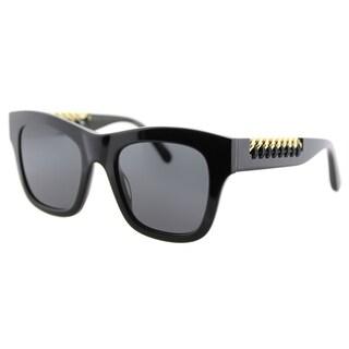 Stella McCartney SC 0011S 001 Falabella Shiny Black Plastic Square Grey Lens Sunglasses