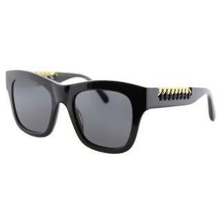 Stella McCartney SC 0011S 001 Falabella Shiny Black Plastic Square Grey Lens Sunglasses