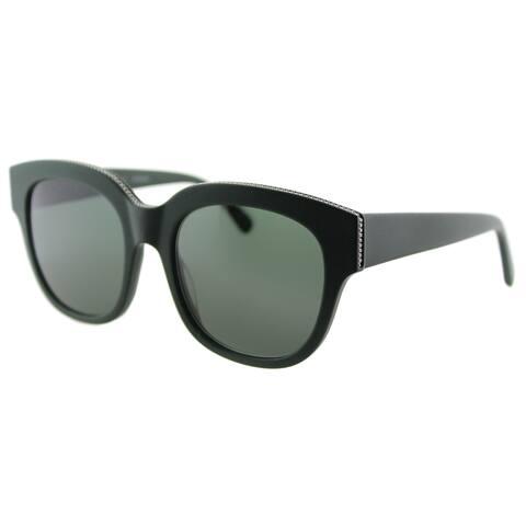 Stella McCartney SC 0007S 004 Falabella Matte Green Plastic Square Green Lens Sunglasses