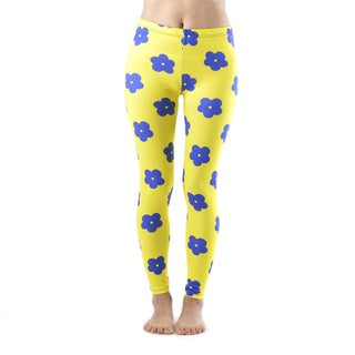 Juniors' Blue Flower Yellow Ankle Leggings
