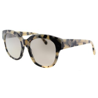 Stella McCartney SC 0007S 002 Falabella White Havana Plastic Square Light Gold Mirror Gradient Lens Sunglasses
