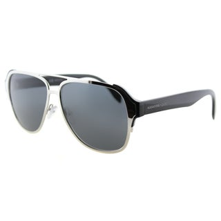 Alexander McQueen AM 0012S 002 Sculpted Pilot Silver Black Metal Aviator Grey Lens Sunglasses