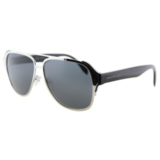 Alexander McQueen AM 0012S 002 Sculpted Pilot Silver Black Metal Aviator Grey Lens Sunglasses