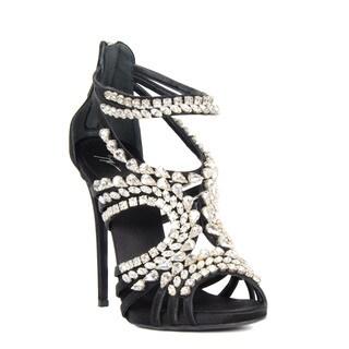 Giuseppe Zanotti Black Rhinestone Heel Sandal