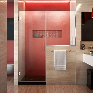 DreamLine Unidoor Plus 48-48 1/2 in. W x 72 in. H Hinged Shower Door with 34 in. Half Panel, Clear Glass