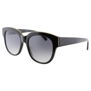 Stella McCartney SC 0007S 001 Falabella Shiny Black Plastic Square Grey Gradient Lens Sunglasses