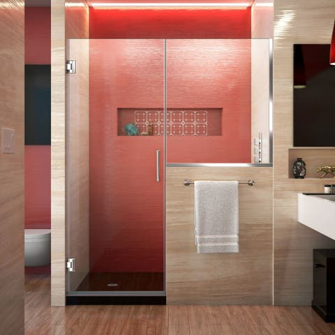 DreamLine Unidoor Plus 59-59 1/2 in. W x 72 in. H Frameless Hinged Shower Door with 34 in. Half Panel, Clear Glass