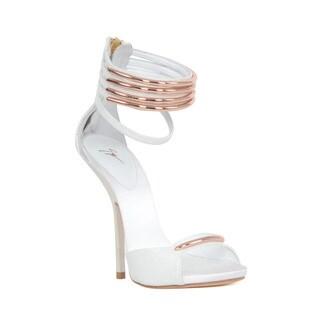 Giuseppe Zanotti Rose Goldtone Hardware White Heel Sandal