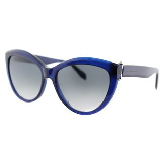 Alexander McQueen AM 0003S 003 Piercing Blue Plastic Cat-Eye Grey Gradient Lens Sunglasses