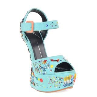 Giuseppe Zanotti Blue Jeweled Heel Sandal