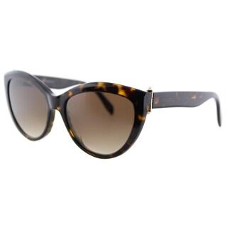 Alexander McQueen AM 0003S 002 Piercing Havana Plastic Cat-Eye Green Lens Sunglasses