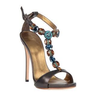 Giuseppe Zanotti Brown Jeweled Heel Sandal