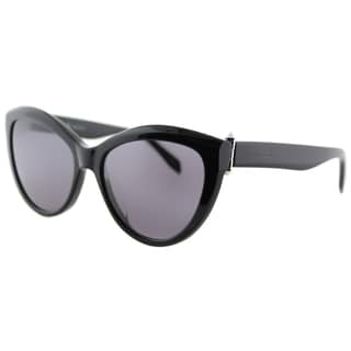 Alexander McQueen AM 0003S 001 Piercing Black Plastic Cat-Eye Grey Lens Sunglasses
