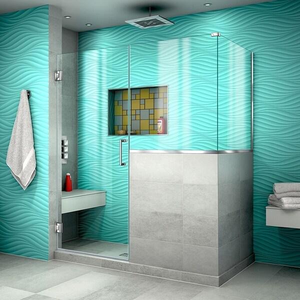"DreamLine Unidoor Plus 59 in. W x 36 3/8 in. D x 72 in. H Frameless Hinged Shower Enclosure - 36.38"" x 59"""