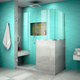 "DreamLine Unidoor Plus 48 in. W x 36 3/8 in. D x 72 in. H Frameless Hinged Shower Enclosure - 36.38"" x 48"""