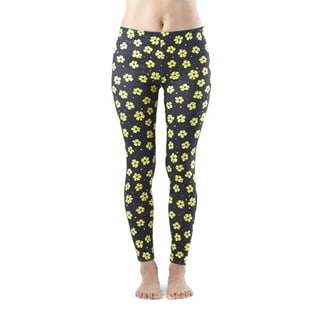 Juniors' Yellow Flowery Spotted Footless Leggings