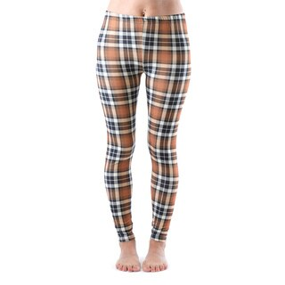Juniors' Brown Plaid Ankle Length Leggings