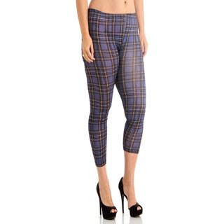 Juniors' Dark Purple Plaid Ankle Leggings