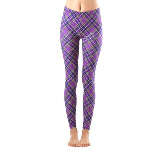 Juniors' Purple Plaid Ankle Leggings