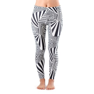 Juniors' Black and White Pattern Footless Leggings