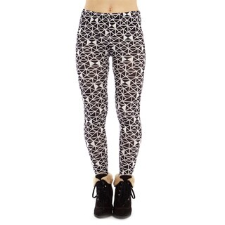 Juniors' Black and White Triangle Pattern Footless Leggings