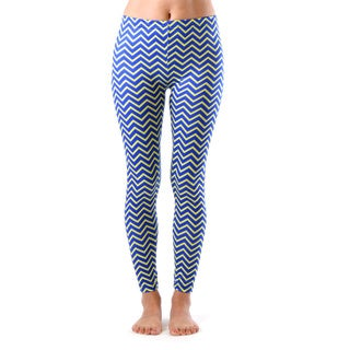 Juniors' Blue and Yellow Chevron Arrows Ankle Leggings