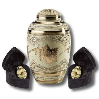 Star Legacy Gold Leaf Brass Cremation Urn 3-Piece Set