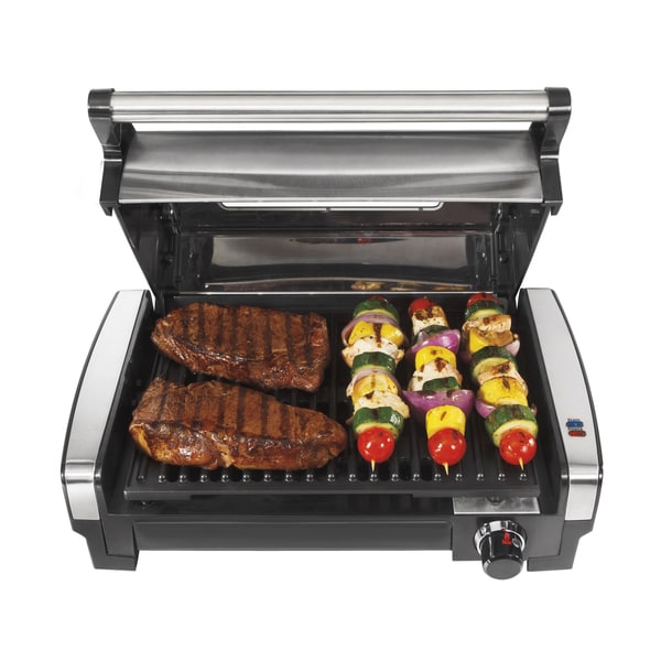 Hamilton Beach Indoor Searing Grill with Lid Window. Opens flyout.