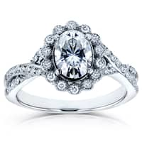 Annello by Kobelli 14k White Gold 1 1/6ct TGW Oval Moissanite (FG) and Diamond (GH) Unique Vintage Engagement Ring