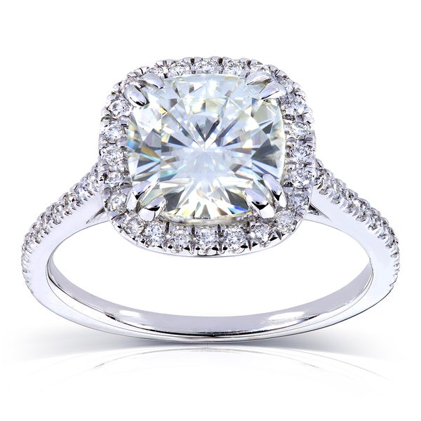 Annello by Kobelli 14k White Gold 2 1/4ct TGW Forever One DEF Moissanite and Diamond Cushion Halo Engagement Ring