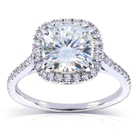 Annello by Kobelli 14k White Gold 2 1/4ct TGW Forever One Moissanite and Diamond Cushion Halo Engagement Ring