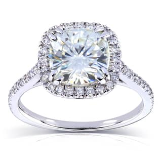 Annello by Kobelli 14k White Gold 2 1/4ct TGW Forever One DEF Moissanite and Diamond Cushion Halo Engagement Ring|https://ak1.ostkcdn.com/images/products/11703274/P18626997.jpg?impolicy=medium