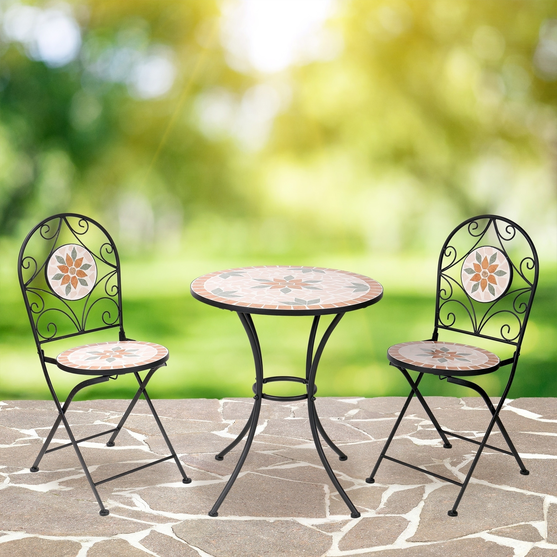Alpine Mosaic Bistro Set with Two Chairs (Multi Color), G...