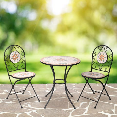 Alpine Corporation Tan 3-Piece Mosaic Outdoor Bistro Set