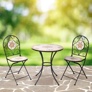 Mosaic Bistro Set with Two Chairs