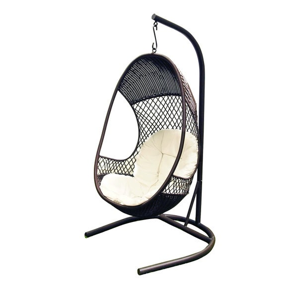Alpine Metal Woven Egg Shaped Stylish Swing Chair With