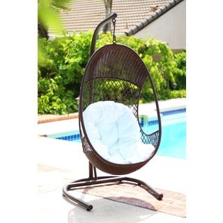Alpine Metal Woven Egg-shaped Stylish Swing Chair with Stand, and Cushions